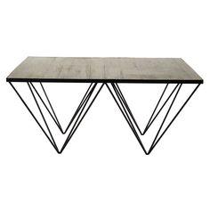 Table basse carrée en bois recyclé et métal L 100 cm