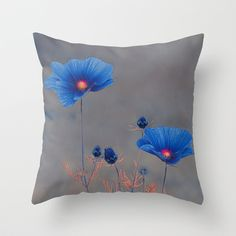 Blue flowers. Throw Pillow by Mary Berg - $20.00 #pillows #society6 #flowers #pink #purple #cosmos #maryberg #homedesign #decorative #blue #textile