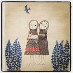 (Japan) Friends by Keiko Minami (1911 - 2004). Etching in colors. Japan.