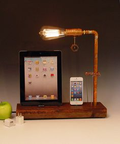 Double iPhone 3, 4, 5, iPad dock AND table lamp. Reclaimed wood & copper pipe. Edison bulb. USB wall charger. (667) on Etsy, $130.00