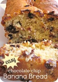 Six Sisters Easy Chocolate Chip Banana Bread is moist and delicious and super easy to make! #sixsistersstuff (Quick 3 Ingredients Chocolate Chips)