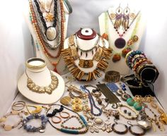 Vintage Jewelry Lot 65 PC Ethnic Tribal BoHo Styles Givenchy Monet Italy & More! SOLD