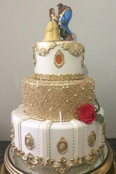 Beauty and the Beast Cake Ideas Are you having a Beauty and the Beast themed quinceanera or wedding? We have some amazing Beauty and the Beast cake inspiration for you! Check out more on our site. Beauty And The Beast Wedding Cake, Beauty And The Beast Theme, Wedding Beauty, Beauty And The Beast Cake Birthdays, Beauty And The Beast Cupcakes, Disney Beauty And The Beast, Sweet 16 Cakes, Cute Cakes, Amazing Wedding Cakes