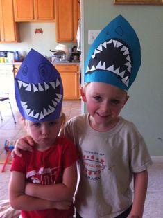 Tiburones (No te comas a la maestra) Four Little Monsters: Shark Week Shark Party Ideas: Shark Crafts, Learning & Shark Snacks Under The Sea Theme, Under The Sea Party, Preschool Crafts, Crafts For Kids, Shark Hat, Ocean Activities, Sea Crafts, Ocean Themes, Shark Week