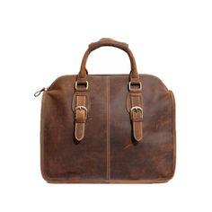 Men Retro Genuine Leather Handbag Messenger Bag Multifunction Shoulder Bag