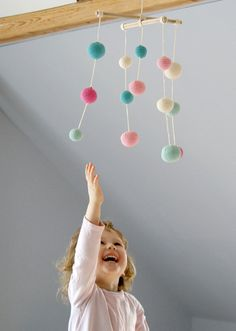 Baby Mobile - Pink/Mint Green Girls Room decoration - Crochet Pastel Hanging Mobile - Colorful Ball Mobile via Etsy