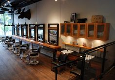 Barber shop decor creative vintage barber shop decor for victory amp brand interior amazing barber shop design ideas Barber Shop Interior, Barber Shop Decor, Shop Interior Design, Interior Ideas, Modern Interior, Victory Barber, Barbershop Design, Barbershop Ideas, Hardwood Floors