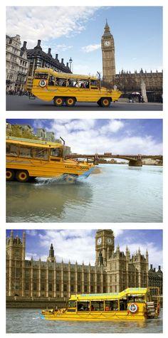 """London Duck - ciężarówka zwana """"Kaczką"""" pozwala turystom na zwiedzanie Londynu na lądzie i pod wodą"""