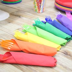 Napkins in all the colours of the rainbow! Why not lay yours out like this for a rainbow party theme?