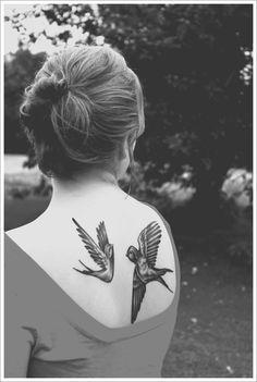 30 Beautiful Bird Tattoo Designs: Flying Bird Tattoo Ideas For Girl On Back ~ Tattoo Design Inspiration