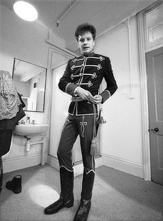 A (surprisingly young) Colin Firth in The Lonely Road at the Old Vic in 1985, readying himself for battle