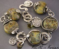 Cactus Sterling Silver Wire Boro Lampwork & PMC by kristaskorner, $179.00