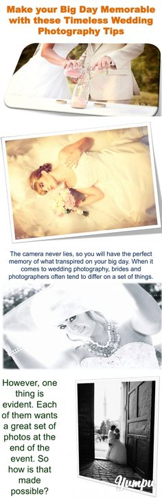 Make your Big Day Memorable with these Timeless Wedding Photography Tips - Magazine with 17 pages: Weddings do not come more often. As such, they are special and should remain memorable. One of the best ways of remembering this life-changing moment is capturing the happenings on lenses.