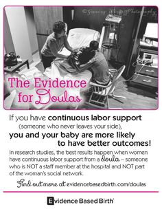 Gorgeous Evidence Based Birth flyers about the evidence for doulas!