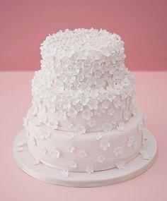 Tumbling Pink Cascading Blossom's on Wedding Cake