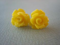 Adorable Mini Rose Earrings - Yellow - Jewelry. View more tips & ideas on our Facebook Page : https://www.facebook.com/BoutiqueBridalParty