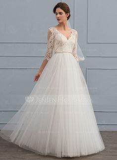 [US$ 166.69] A-Line/Princess V-neck Floor-Length Tulle Wedding Dress With Beading (002119789)