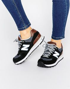 New+Balance+574+Black+&+Tan+Trainers