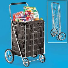 Top Quality Chrome Shopping Cart transports 150 lbs. of groceries, more. Foam grip handle, quiet rubber tires.