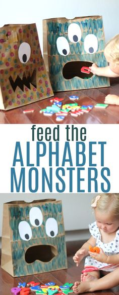 Feed the Alphabet Monsters - Toddler Approved Alphabet For Toddlers, Indoor Activities For Toddlers, Toddler Learning Activities, Toddler Preschool, Toddler Crafts, Preschool Activities, Online Games For Toddlers, Educational Crafts For Toddlers, Toddler Alphabet