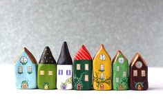 CERAMIC HOUSES - Little clay home white house with purple roof and pink by rodica Clay Houses, Ceramic Houses, Clay Christmas Decorations, Christmas Crafts, Ceramics Projects, Clay Projects, Polymer Clay Crafts, Diy Clay, Rock Crafts