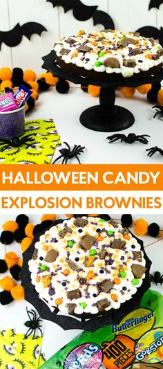 Looking for a way to use up some Halloween Candy? These Candy Explosion Brownies made with Halloween candy are delicious! Halloween Party Drinks, Halloween Cupcakes, Halloween Candy, Halloween Snacks, Halloween Stuff, Dessert Games, Fun Desserts, Recipe For 8