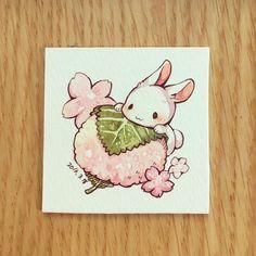 Adorable pink blossom bunny illustration