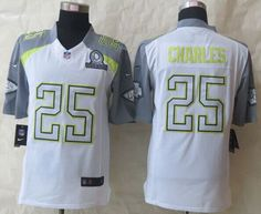 """$25.88 at """"MaryJersey"""" (maryjerseyelway@gmail.com) Nike Chiefs No.25 Jamaal Charles White Pro Bowl Men's Stitched NFL Elite Team Carter Jersey"""