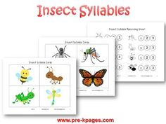 Insect Syllable Activity for #preschool and #kindergarten