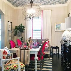 Colorful dining room with wallpaper ceiling! eclecticallyvintage.com