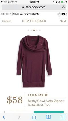 Like the color and neck detailing. Laila Jayde Busby cowl neck zipper detail knit top.