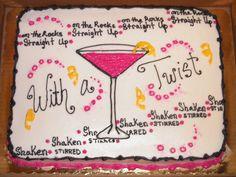 Martini party cake - Erin Miller Cakes - https://www.facebook.com/erinmillercakes