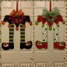Reversable wooden door hanger. Halloween witch legs & Christmas elf legs.