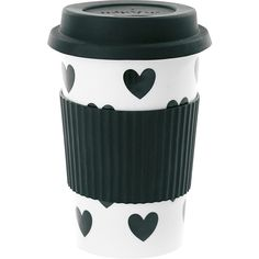 Miss Étoile Ceramic Travel Mug - Big Black Hearts ($24) ❤ liked on Polyvore featuring home, kitchen & dining, drinkware, hot coffee cup, hot beverage cups, ceramic travel mug, dishwasher safe cups and ceramic travel cup