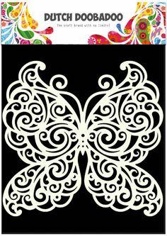 Butterfly - Stencil - Mask - Dutch Doobadoo - A5 - Mixed Media - Altered Art - Laser Cut Plastic - Mixed Media
