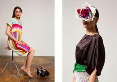 links: Blockstreifen Kleid I Seide rechts: Amazonkleid in schwarz I Seide