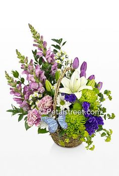 Spring basket of flowers from Petal Street Flower Company Florist.