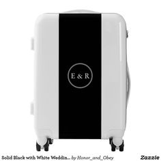 Solid Black with White Wedding Detail Luggage