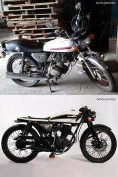 Transformation - Honda Cg 125 1981 - Urban Cafe Racer (before/after). Designed by: Mateus Takaki Bmw Cafe Racer, Gs 500 Cafe Racer, Estilo Cafe Racer, Moto Cafe, Cafe Racer Girl, Cafe Bike, Cafe Racer Build, Cafe Racer Motorcycle, Café Racer 125