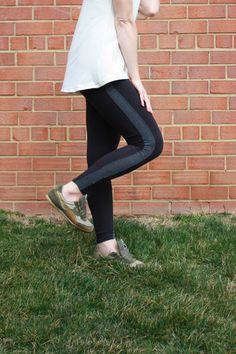 Simple Handmade Tuxedo Stripe Leggings