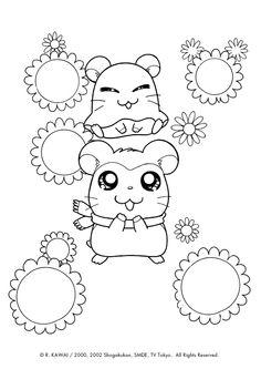Les personnages du dessin animé hamtaro sont entourés de fleurs, dessin à colorier