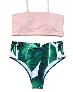 e81b37212b MOOSKINI Womens Padded Two Piece Tankinis Printed Leaf Bikini Set Swimsuit