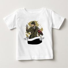 Sherlock Holmes Looking for Clues Magnifying Glass Baby T-Shirt - kids kid child gift idea diy personalize design
