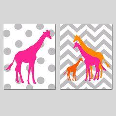 Giraffe Nursery Duo - Set of Two 11x14 Nursery Art Prints - Polka Dot Giraffe and Chevron Giraffe Family - Choose Your Colors on Etsy, $48.50