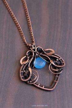 Wirewrap pendant Wire jewelry chalcedony by LenaSinelnikArt