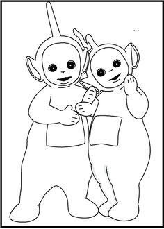 teletubbies dipsy and laa laa coloring picture for kids - Teletubbies Dipsy Coloring Pages