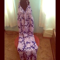 Long Floral Maxi Dress Navy And Purple.
