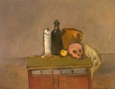 """Original Steve Binetti painting. Title: """"Candle, Bottle, Jar, Apple, Skull"""".  Oil on canvas.  Signed on the backside """"Steve Binetti Candle, Bottle, Jar, Apple, Skull 2000-2017"""". Size: 70 x 55 x 4 cm.  (please note: dimensions are given in centimeters) Weight: ca. 1400 gr. Shipping weight ca. 2700 gr. Condition: perfect."""