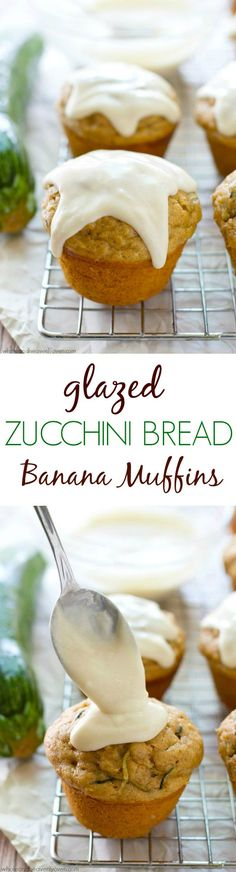 These super-soft zucchini muffins are exploding with banana flavor and covered every inch in an irresistible cream cheese glaze.---no one will ever guess theyre healthy! Whole and Heavenly Oven Healthy Muffin Recipes, Healthy Muffins, Breakfast Recipes, Healthy Sweets, Zucchini Banana Bread, Zucchini Muffins, Muffin Bread, Queso, Just Desserts