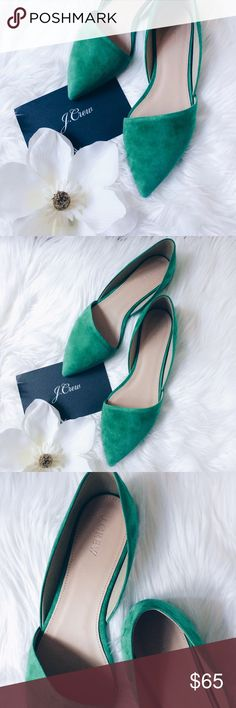 J.CREW | SLOAN D'ORSAY FLATS NW BOX. Brilliant kelly green suede upper that will catch all eyes and brighten up your outfit. Asymmetrical toe design. Size 9.5 and feels true to size. This is from J.crew retail, not factory. J. Crew Shoes Flats & Loafers